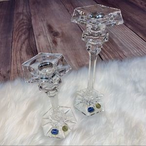 Vintage | Bohemia Crystal Candlestick Holders